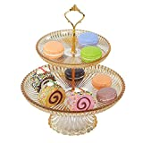 2 Tier Cake Stand with Base Fruit Plate Clear Cupcake Plastic Stand for Cakes Desserts Fruits Candy Buffet Stand for Wedding Home Decor Birthday Party (Yellow)