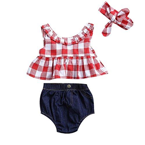 Baby Girl Plaid Ruffle Bowknot Tank Tops+Denim Shorts+Headband Outfits Set (0-6M, Red)