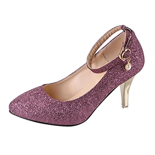 Neartime Clearance Women High Heel Shoes, Fashion 2018 Ladies Lace-Up Casual Sandals Pointed Toe Party Office Solid Color Shoes(5cm-8cm) by Neartime Sandals