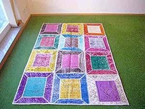 Alfombra en patchwork multi 157 138x192 cm hogar for Alfombras comedor amazon