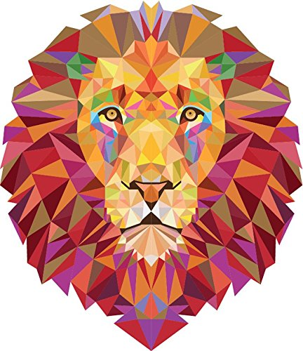 Geometric Lion Animal Sticker Decal Design 5'' X 5''