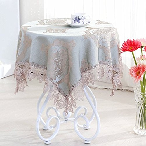 Jinsen Classic Linen Cotton Printed Tablecloth Dustproof Rectangular Table  Cloth Wedding Party Hotel Table Cover,Assorted Size 130x130 Cm (52x52 Inch  Blue)