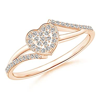 Angara Round Composite Diamond Bypass Ring in Rose Gold LfoIVt