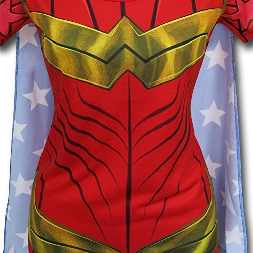 Animewild DC Comics Wonder Woman Sublimated Womens Caped T-Shirt | L -