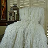 Thomas Collection super soft embossed faux fur throw blanket, faux mongolian fur throw blanket, White Mongolian Faux Fur Throw Blanket Bedspread, Super Soft Curly Fur, Made in America, 16421