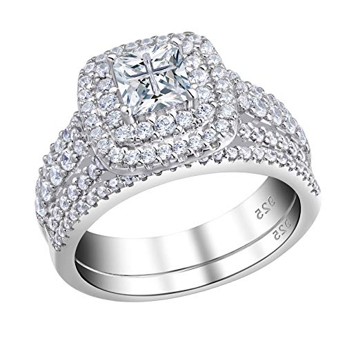 Newshe Wedding Rings for Women Engagement Ring Sets Sterling Silver Cz 1.7Ct Princess Cross Sz 5-10