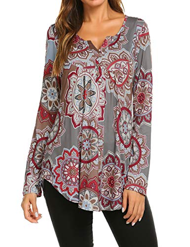 Halife Womens 3X Plus Size Tops, Casual Long Sleeve Tunic T Shirt Women V Neck Pleated Dressy Tops 3XL,Grey