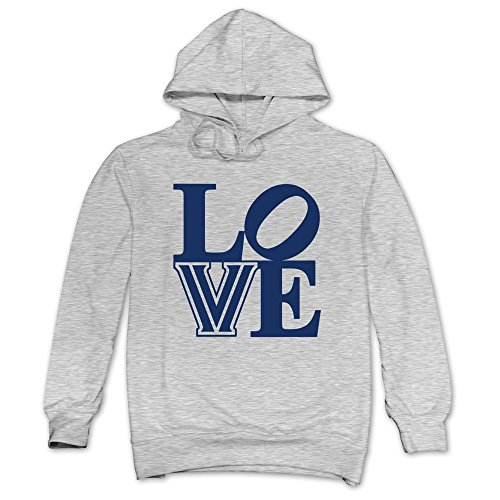 Men LOVE Villanova Wildcats Hoodie Ash 100% Cotton
