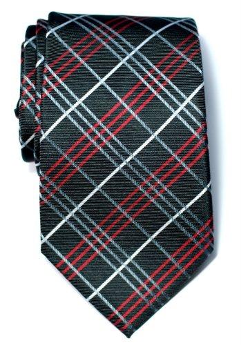 Retreez Tartan Check Styles Woven Microfiber Men's Tie Necktie - Charcoal Black