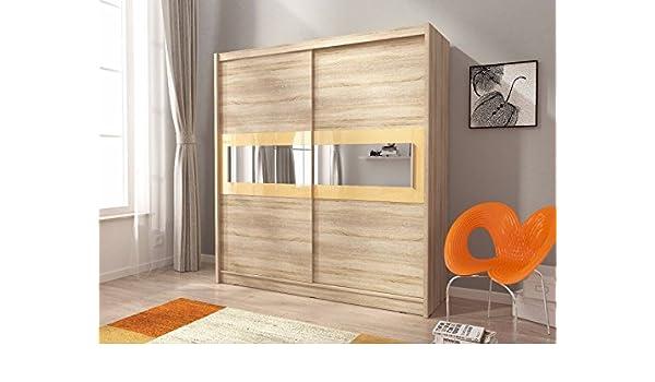 Sarah 4 – 2 puertas correderas espejo dormitorio grande blanco luz de color marrón oscuro madera de roble armario de estilo moderno: Amazon.es: Hogar