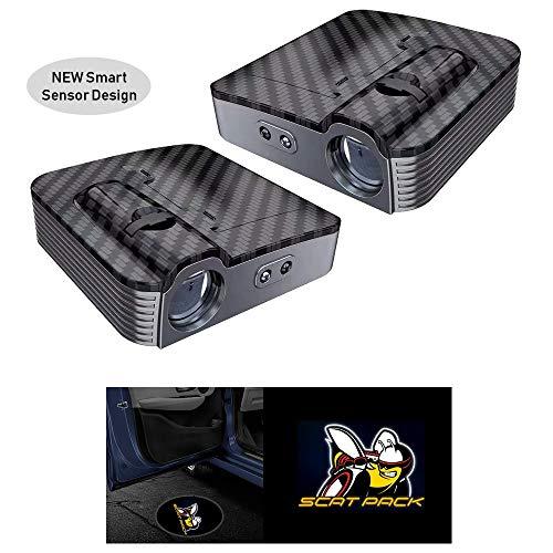 2pcs Universal Wireless Smart Sensor Car Projection LED Projector Door Ghost Light Shadow Light Welcome Light Laser Emblem Logo Courtesy Lights Lamps,Compatible for Dodge Challenger (Scat Pack)