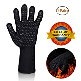 BBQ Gloves Heat Resistant Barbecue Gloves for Cooking/Oven/Grilling 932°F Extreme -1 Pair (Long)-14'' Long For Extra Forearm Protection