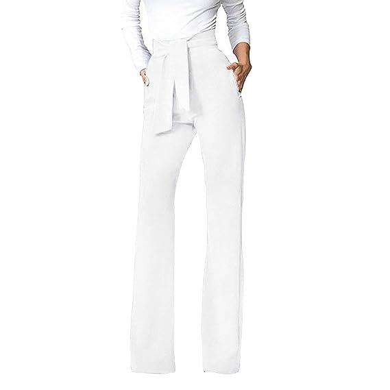Pantalones Mujer Elegante Fiesta Moda Pantalones Anchos Largos Unicolor Anchos Fashion Pantalones De Tiempo Libre Pantalones De Traje Bastante con ...