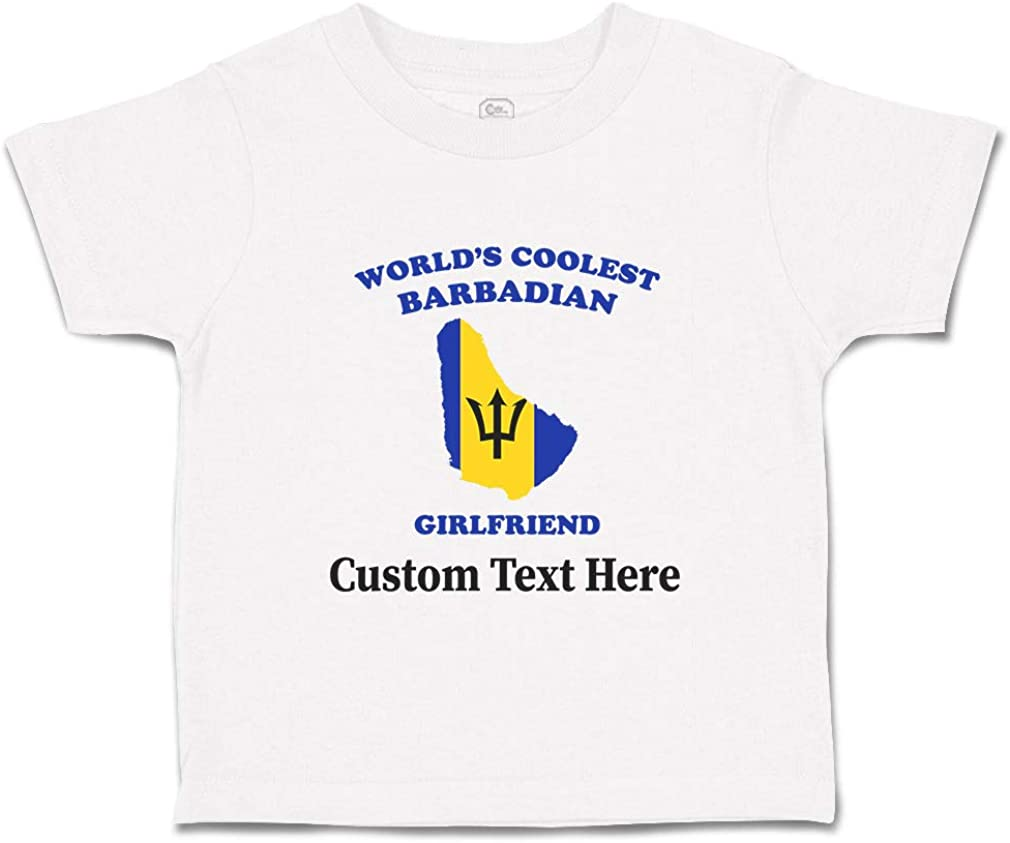 Custom Baby /& Toddler T-Shirt Worlds Coolest Barbadian Girlfriend Cotton