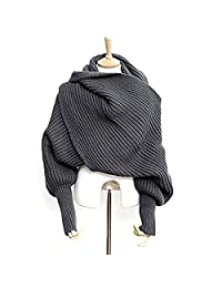 Unisex Fashion Autumn Winter Unisex Knitted Scarf Cape Shawl with Sleeves Dark Grey
