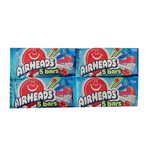 Airheads Candy 5 Bar Packs | Airheads Variety Pack | Each Pack Contains 5 Individually Wrapped Bars | Pack of 4 for 20 Total Bars