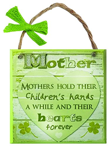 Carrolls Irish Gifts Rustic Ireland Mother Wooden Plaque With A Green Heart & White Background Design