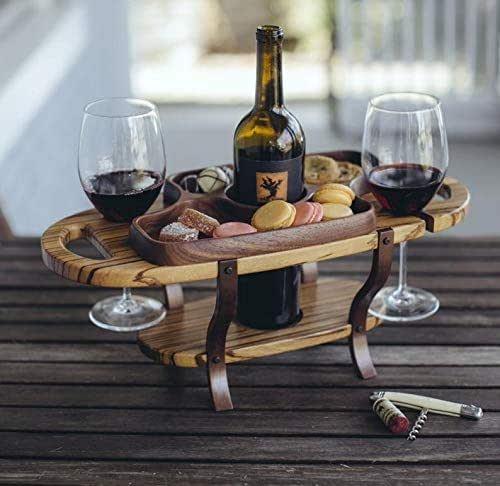 wood accent caddie travel storage durable wood bottle rack kitchen decor picnic server Wine caddy drinking glass carrier maple