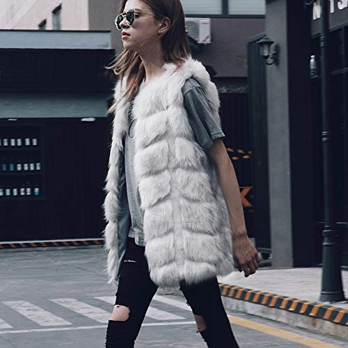 Female Solid Lazzboy Block 18 Fashion Faux Jacket Ladies 8 Womens Gilet Warm Plus Outerwear Oversized Fur Size Size Fluffy Grey UK Coat v0v7Rz