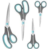 Asdirne Scissors Set of 4, Premium Stainless Steel Razor Blades, Ergonomic Semi-Soft Rubber Grip, Suitable for School…