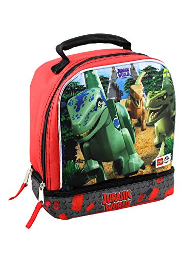 (Lego Jurassic World Boys Soft Dual Compartment Insulated School Lunch Box (Black))
