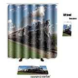 vanfan bath sets Polyester rugs shower curtain historic steam train passes through the field shower curtains sets bathroom 72 x 108 inches&31.5 x 19.7 inches(Free 1 towel 12 hooks)
