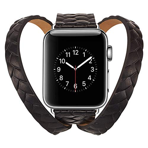 Price comparison product image certainPL Double Tour Leather Band Replacement Bracelet Accessory for Apple Watch 4 44mm (Black)