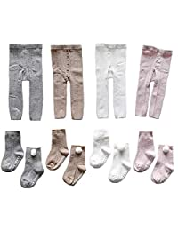 Sywwlov Baby Girls Footless Tights Knit Warm Leggings Stocking Pants with Socks