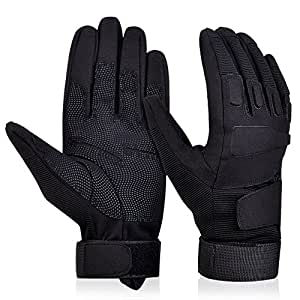 Adiew Full Finger Military Tactical Airsoft Hunting Riding Cycling Glove Anti-Vibration Mountain Bike Slip-Proof Motorcycle Road Racing Bicycle Glove Shockproof Outdoor Sports Glove(Black,Small)