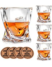 Vaci Crystal Whiskey Glasses - Set of 4 - with 4 Drink Coasters, Crystal Scotch Glass, Malt or Bourbon, Glassware Set