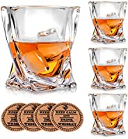Vaci Crystal Whiskey Glasses - Set of 4 - with 4 Drink Coasters, Crystal Scotch Glass, Malt or Bourbon, Glassw