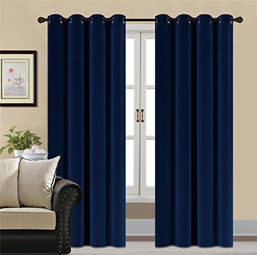 HCILY Blackout Velvet Curtains Navy 96 INCH thermal insulated for bedroom 2 panels (W52'' x L96'', Blue)