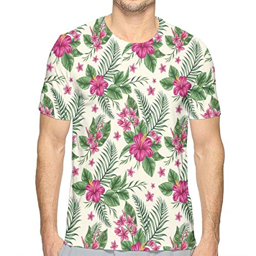 Aloha Shirt Island Decor - 3D Printed T Shirts,Plumeria and Hibiscus Flora Tropical Island Nature Aloha Hawaii Jungle