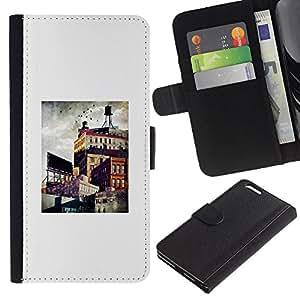 APlus Cases // Apple Iphone 6 PLUS 5.5 // Brooklyn Arquitectura Ciudad Pintura Arte // Cuero PU Delgado caso Billetera cubierta Shell Armor Funda Case Cover Wallet Credit Card