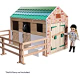 Lottie Dolls Stable Playset made with Wood and child friendly colours!