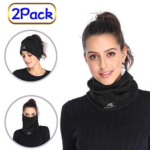2 Pack Fleece Neck Gaiters Warmer for Men Women Winter Face Mask Neck Scarf for Cold Weather Skiing Running (01.Black(2 Pack))