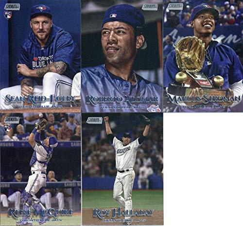 (2019 Topps Stadium Club Baseball Toronto Blue Jays Team Set of 9 Cards: Roy Halladay(#206), Marcus Stroman(#218), Danny Jansen(#221), Reese McGuire(#230), Lourdes Gurriel Jr.(#232), Justin Smoak(#237), Sean Reid-Foley(#254), Roberto Alomar(#258), Rowdy Tellez(#293))