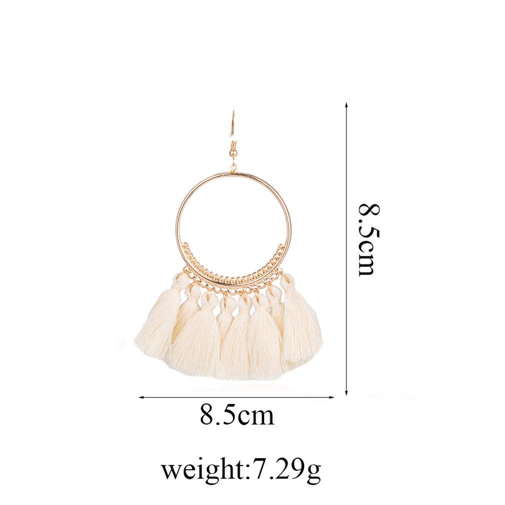 Bohemian Ethnic Fringed Tassel Earrings Women Golden Round Circle Ring Hanging Drop Earrings Jewelry White by DARLING HER (Image #3)