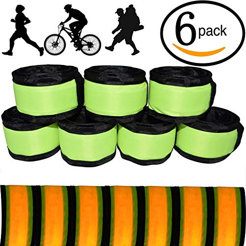 LED Glow Slap Bracelet, Light Up Wristband 6-Pack High Visibility Safety Band for Cycling Walking Running Concert Camping Outdoor Sports-Fits Women, Men & Kids, Yellow