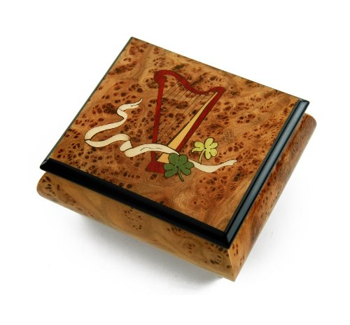 Irish Music Box W. Celtic Harp, Green Clovers & Ribbon - When You Wish Upon A Star by MusicBoxAttic
