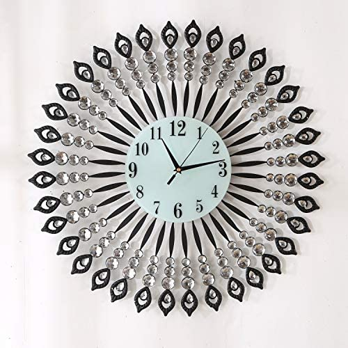 KINBEDY 28 Luxury Crystal Bohemian Style Metal Modern Wall Clock