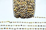100 Feet Beautiful Bumble Bee Rosary Beaded Chain - Bumble Bee Faceted Wire Wrapped Rosary Chain, Sold by Foot, Brand New, 3.50-3.75 by LadoNarayani
