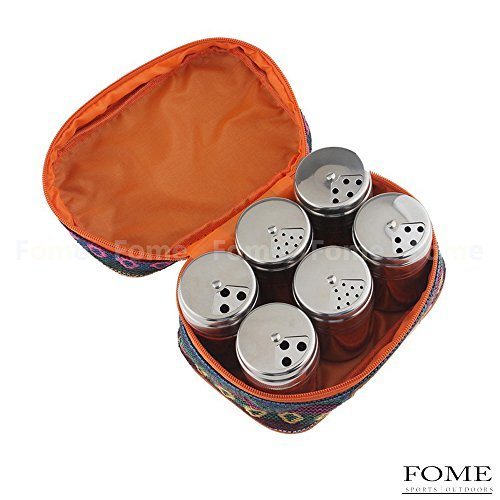 Spice Shakers,FOME SPORTS|OUTDOORS Travel 6 Pcs Stainless Steel Spice Salt Pepper Herb Container Shakers with Portable Pouch for Easy Carry Great for Home or Outdoor Use One Year Warranty