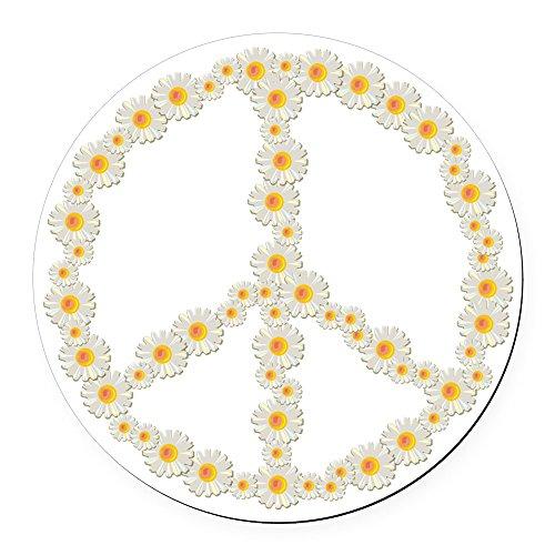 CafePress - Flowerpeace_Shirt - Round Car Magnet, Magnetic Bumper Sticker