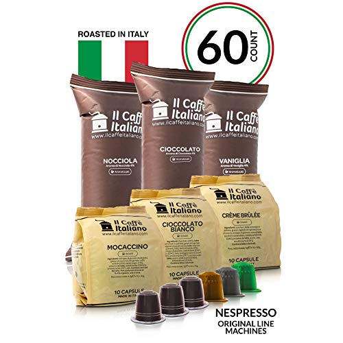 - Il Caffé Italiano Coffee | Nespresso OriginalLine Compatible Capsules| Certified Dolce Vita Variety Pack (Sweet / Desert Flavors) | 60 Espresso Pods | Roasted in Messina, Italy | Happiness Guaranteed