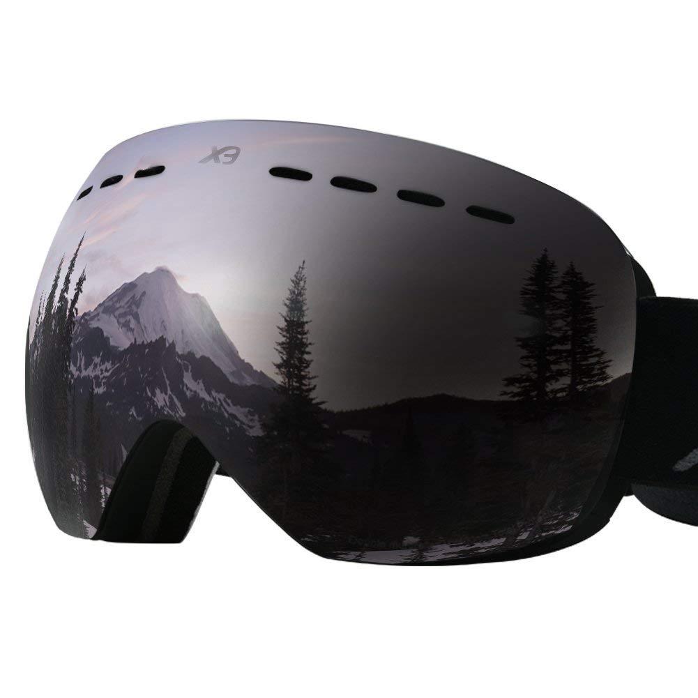 Mounchain スキーゴーグル 交換可能 レンズ フレームレス UV400 保護 スノーゴーグル 男女兼用 グレー
