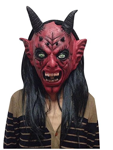 Youth Devil Costume (wanture Latex Devil Mask Halloween Cosplay Terrifying Costume Party Head Mask)