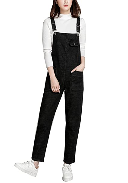 reputable site big selection of 2019 2020 Gladiolus Womens Dungarees Jean Straight Leg Slim Fit Plus Size Pure Color  Pocket Bib Overalls