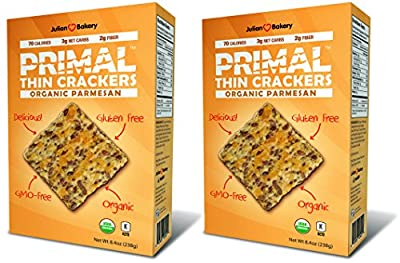 Primal Thin Crackers (Organic) (2 Pack) (Low Carb, Gluten Free, Grain Free) (Organic Parmesan)