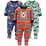Simple Joys by Carter's Boys' Toddler 3-Pack Loose Fit Flame Resistant Fleece Footed Pajamas, Bear/Alligator/Fox/Racoon, 2T